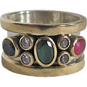 SALE Mid Century Gold Plated Sterling Silver Synthetic Ruby, Emerald, Sapphire & CZ Ring .
