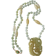 SALE Artisan Chinese Peking Glass Pendant with Dyed Jade Beads 18kt GP Clasp with Jadeite Cabo