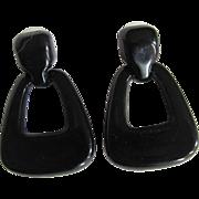 SALE Art Deco Revival 70's Black Lucite Geometric Pierced Earrings