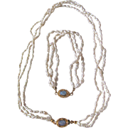 """SALE Vintage 18kt GP Opal Cabochon Clasp with Japanese Freshwater """"Rice""""Pearls Tripl"""