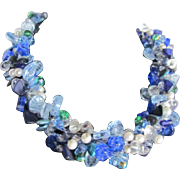 SALE Upcycled Glass Flower & Leaves in Blues, Clears with Faux Pearls on Wire Necklace