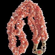 SALE Vintage 18kt GP Natural Angel Skin Branch Chip Coral 3 Strand Torsade Necklace