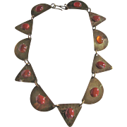 SALE Mid Century Hammered Brass Geometric Links & Jasper & Carnelian Cabochon Necklace