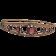 SALE Vintage Signed Carl Art Victorian Revival Almandite Garnet Graduated Gems GF Bracelet ...