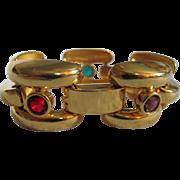 SALE Art Deco Revival Style GP Link Bracelet with Bezel Set Rainbow Glass Facetted Faux ...