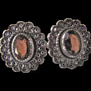 SALE Vintage Rare Hessonite Garnet Facetted Gems Sterling Silver Patterned Pierced Earrings ..