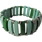 SALE Art Deco Unsigned Jakob Bengel 2 tone Green Galalith and Chrome Stretch Bracelet