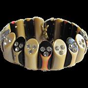SALE Art Deco Black/Blonde/Pink Washed Celluloid with Inlaid Rhinestone Rod Stretch Bracelet