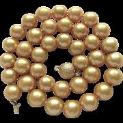 SALE Vintage 18kt GP Golden South Sea Delta Enhanced 10.50-11mm Cultured Pearl Necklace Certif
