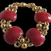 SALE Art Deco Gold Plated Modernist Jakob Bengel Deep Red Galalith Links Bracelet