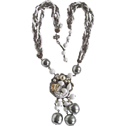 SALE 1940's Hematite/Milk Glass Torsade and Faux Baroque Pearl Matching Earrings & Necklace De