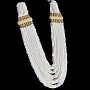 SALE Vintage White Mediterranean Seed Coral Multi Strand Necklace