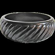 SALE Art Deco Galalith Geometric Slanted Pattern Bangle Bracelet