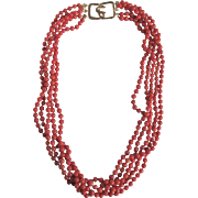 SALE Vintage 5 Strand Salmon Dyed Coral Torsade Necklace *Certified Appraisal* $1455