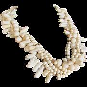 SALE Vintage Certified Appraised $2250 Creamy White Natural Coral 5 strand Torsade 22kt GP ...