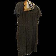 SALE 80's Dana Buchman 100% Shantung Silk Chocolate Tailored Shirt Dress Size 12 *Removable ..