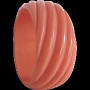 SALE Art Deco Twisted Diagonal Coral Orange Galalith Bangle