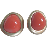 SALE Mid Century Modernist  GP Signed Bastian Company Coral Orange Lucite Asymmetrical Pierced