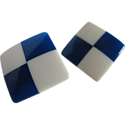 SALE Mid Century  Blue transparent  and white Lucite checkerboard pierced earrings