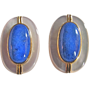 SALE Vintage 18kt GP on Sterling Signed Les Bernard Mother of Pearl & Sodalite Clip Earrings .