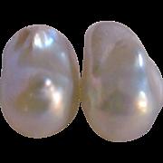 SALE Vintage Vermeil 14kt GF South Sea Baroque 15mm Cultured Pearl Leverback Pierced Earrings