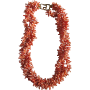 SALE 22kt GP 1980's Kenneth Lane Faux Coral Branch Torsade Necklace