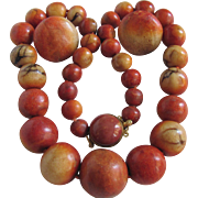 SALE Vintage Appraised $2465 Natural Sponge Graduated Large Bead Necklace and Matching Pierced