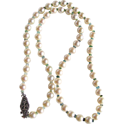 SALE Vintage Appraised $1665 Very Fine Cultured AA  Akoya Pearls and Seawater Tourmaline ...