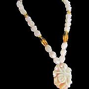 SALE Vintage 18kt GP Jade Nephrite Carved Rose Pendant on Rose Quartz and Citrine and ...