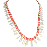 SALE Victorian Appraised $750 Graduated Carved Mother Of Pearl and Cerise Coral Bead Necklace