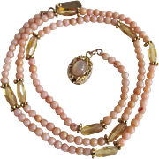 SALE Vintage 18kt GP Natural Angel Skin Coral and Citrine with Moonstone Cabochon Necklace