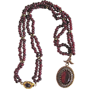 SALE Vintage Certified 18kt GP Garnet Bead and Paste Pendant Necklace Appraisal $1085