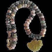 SALE Vintage Signed Kenneth Lane Carved Nephrite Jadeite Pendant and Gemstone bead Necklace