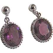 SALE Vintage Sterling Silver Amethyst Glass Gemstone Signed Danecraft Screwback Earrings