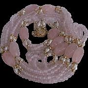 SALE Vintage 18kt GP Rose Quartz and Freshwater Flapper Multi Strand Necklace and Bracelet ...