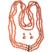 SALE Antique Victorian Natural Mediterranean Salmon Coral 3 Strand Necklace & Matching Earring