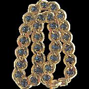 SALE Vintage 22kt GP Givenchy Faux Blue Sapphire Stone Curb Chain Necklace
