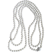 """SALE Vintage Japanese White Coral 56"""" Rope Length Necklace with Certified Appraisal $1135"""