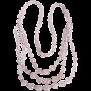 SALE Vintage Triple Strand Rose Quartz / Pear Shape Clip earrings & Festoon Endless Necklace .