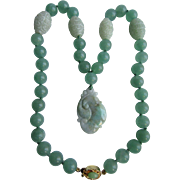 SALE Vintage 18kt GP Jadeite Pendant & Dyed Jadeite Beads with 4 Peking Glass Accent Beads Nec