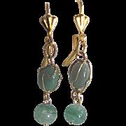 SALE Vintage Jadeite in a Cage GP Leverback Earrings