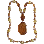 SALE Art Deco 18kt GP Amber Glass & Carved Glass Intaglio Tulip Pendant Necklace with Certifie
