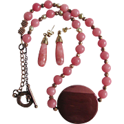 SALE Vintage Rose Quartz with Natural Baroque Pearl and Sugelite Pendant Necklace & Pierced Ea