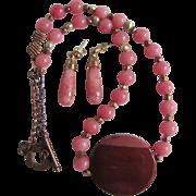 SALE Vintage Rose Quartz with Natural Baroque Pearl and Sugelite Pendant Necklace & Pierced Ea