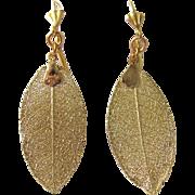 SALE Vintage 22kt GP REAL Skeletonized Magnolia Leaf Drop GP French Clip Leverback Earrings