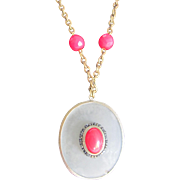 SALE Victorian Certified Appraised $1250 Rock Crystal with Red Paste Cabochon Pendant