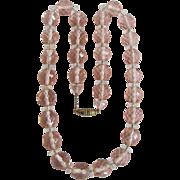 SALE Antique Gem Quality Rose Quartz Crystal Strung on Chain Necklace Certified Appraisal $217