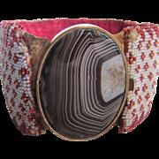 SALE Antique Georgian Beaded Bracelet Garnets/Moonstone Banded Agate Cabochon Certified ...