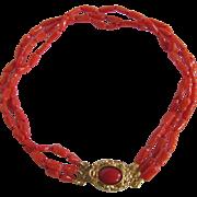 SALE Vintage 18kt GP Enhanced Red Coral 3 strand Bracelet Certified Appraisal $895