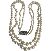 """SALE Antique """"AA"""" Fine Quality Cultured Akoya Pearl Double Graduated Strands Necklac"""